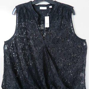 New York & Co  Black Sleeveless Lacy Wrap Blouse